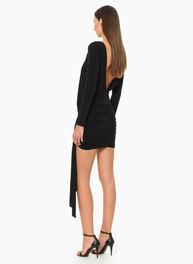 NetWork Sırt Dekolteli Mini Elbise Siyah